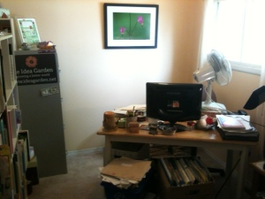 Airing out my office after painting baseboard, window trim, and door.